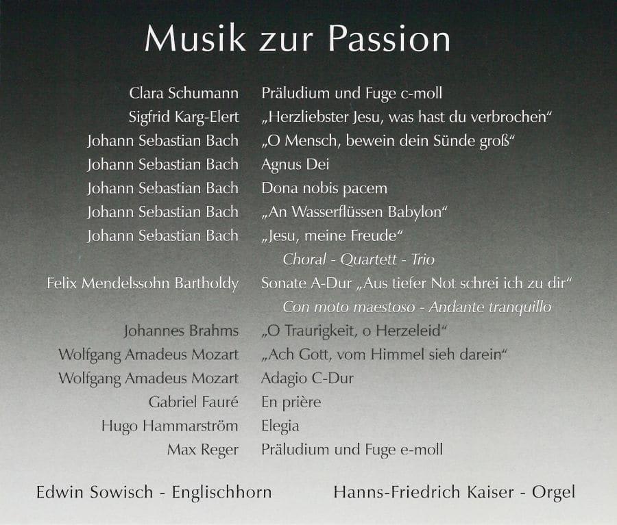 CD Weimbs-Orgel Weiden, St. Michaelskirche Max-Reger-Gedächtsnisorgel Musik zur Passion
